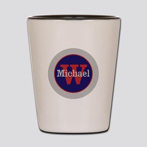 Blue Red Name and Initial Monogram Shot Glass