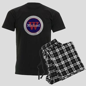 Blue Red Name and Initial Mono Men's Dark Pajamas