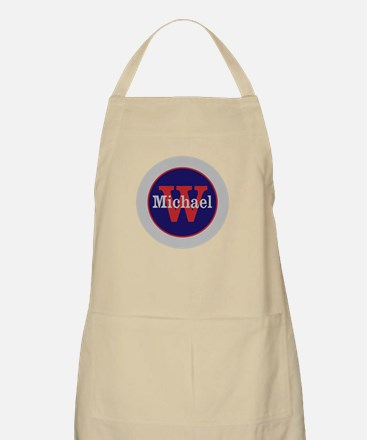 Blue Red Name and Initial Monogram Apron