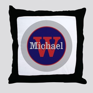 Blue Red Name and Initial Monogram Throw Pillow