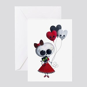 Cute Skeleton Girl with Spooky Balloons Greeting C