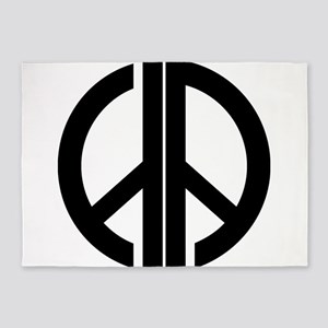 AA Peace Symbol 5'x7'Area Rug