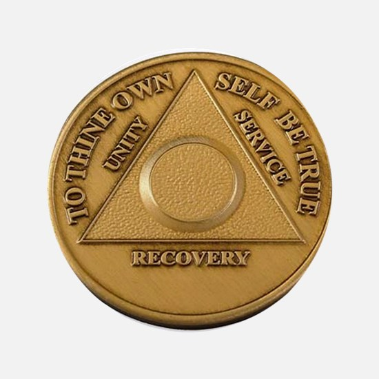 """Alcoholics Anonymous Anniversary Chip 3.5"""" Button"""