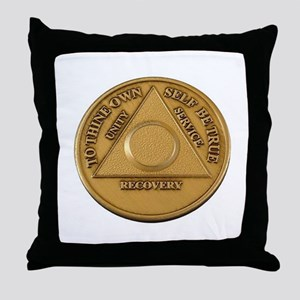Alcoholics Anonymous Anniversary Chip Throw Pillow