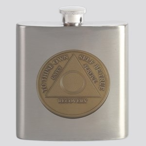 Alcoholics Anonymous Anniversary Chip Flask