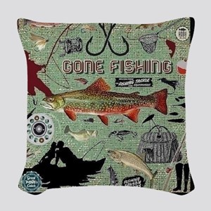 Gone Fishing Woven Throw Pillow