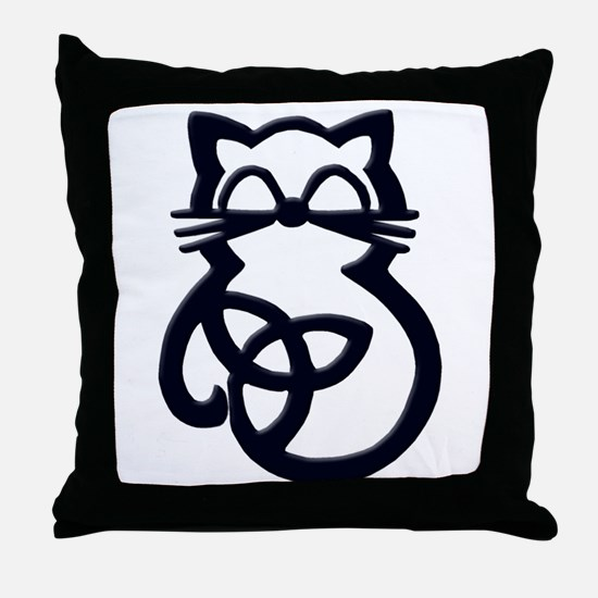 Black Trinity Knot Celtic Cat Throw Pillow