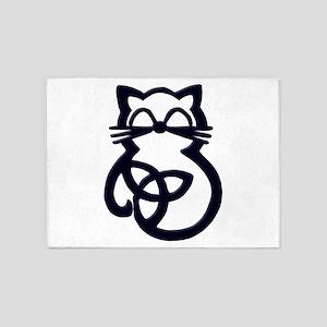 Black Trinity Knot Celtic Cat 5'x7'Area Rug
