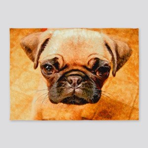 Brown Pug Puppy 5'x7'Area Rug