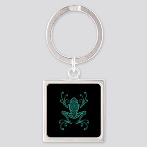 Intricate Teal Blue and Black Tribal Tree Frog Key