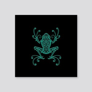 Intricate Teal Blue and Black Tribal Tree Frog Sti