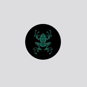 Intricate Teal Blue and Black Tribal Tree Frog Min