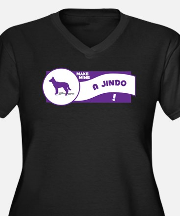 Make Mine Jindo Women's Plus Size V-Neck Dark T-Sh