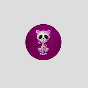 Purple Zombie Sugar Skull Kitten Mini Button