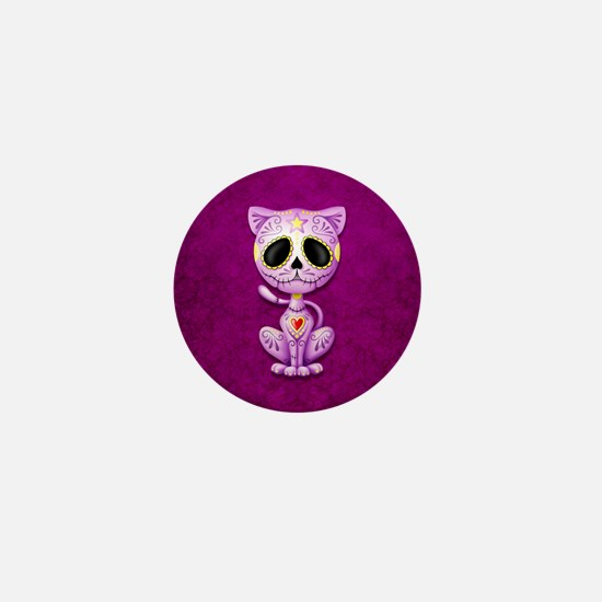 Purple Zombie Sugar Skull Kitten Mini Button