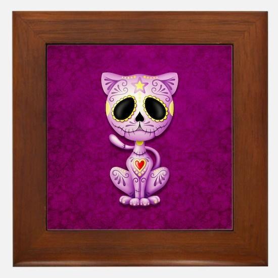 Purple Zombie Sugar Skull Kitten Framed Tile
