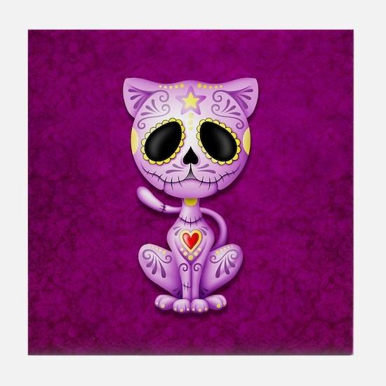 Purple Zombie Sugar Skull Kitten Tile Coaster