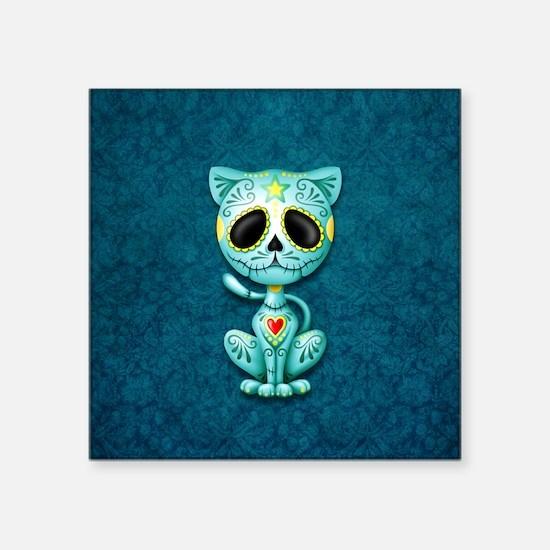 Blue Zombie Sugar Skull Kitten Sticker