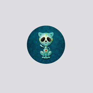 Blue Zombie Sugar Skull Kitten Mini Button