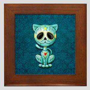 Blue Zombie Sugar Skull Kitten Framed Tile