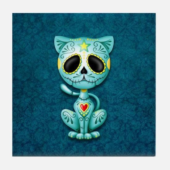 Blue Zombie Sugar Skull Kitten Tile Coaster