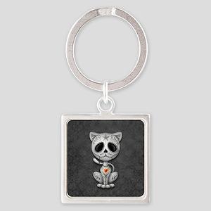 Gray Zombie Sugar Skull Kitten Keychains