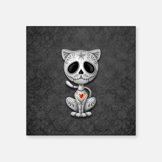 Gray Zombie Sugar Skull Kitten Sticker