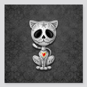 Gray Zombie Sugar Skull Kitten Square Car Magnet 3