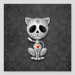 Gray Zombie Sugar Skull Kitten Square Car Magnet 3