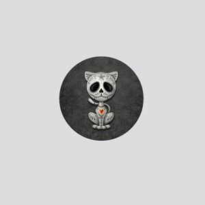 Gray Zombie Sugar Skull Kitten Mini Button