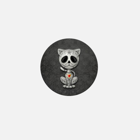 Gray Zombie Sugar Skull Kitten Mini Button