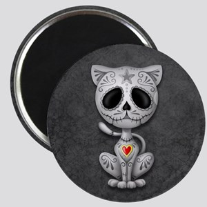 Gray Zombie Sugar Skull Kitten Magnets