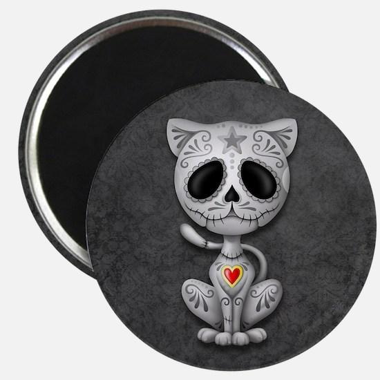 Gray Zombie Sugar Skull Kitten Magnets