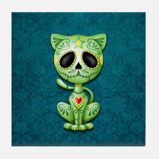 Green and Blue Zombie Sugar Skull Kitten Tile Coas