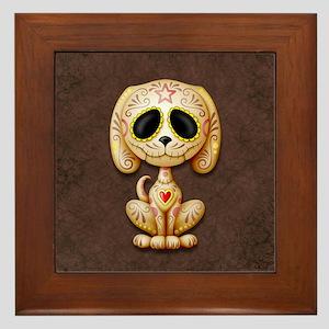 Brown Zombie Sugar Skull Puppy Framed Tile