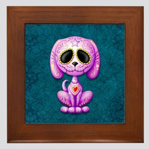 Purple and Blue Zombie Sugar Skull Puppy Framed Ti
