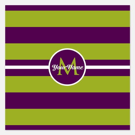 Bold Stripe Monogram 5.25 x 5.25 Flat Cards