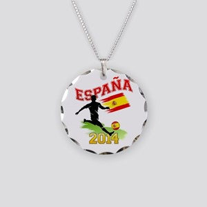 Soccer ESPANA Flag Necklace Circle Charm