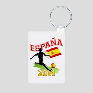Soccer ESPANA Flag Aluminum Photo Keychain