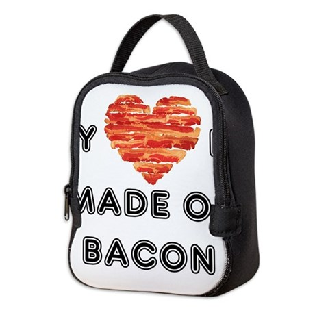 My heart is made of bacon Neoprene Lunch Bag