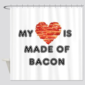 My heart is made of bacon Shower Curtain