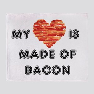 My heart is made of bacon Throw Blanket