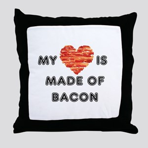 My heart is made of bacon Throw Pillow