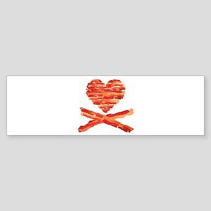 Bacon Heart and Crossbones Bumper Sticker