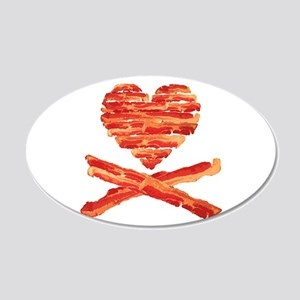 Bacon Heart and Crossbones Wall Decal