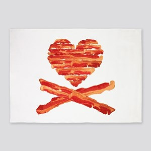 Bacon Heart and Crossbones 5'x7'Area Rug