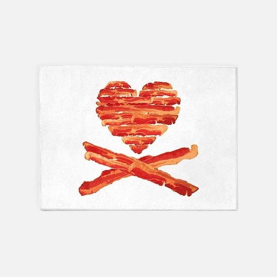 Bacon Heart and Crossbones 5'x7'Area Rug