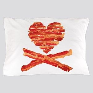 Bacon Heart and Crossbones Pillow Case