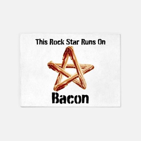 Bacon Super Star Runs on Bacon 5'x7'Area Rug