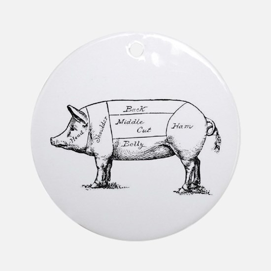 Pig Diagram Ornament (Round)